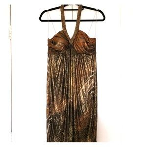 Halter Goldish Chain Dress